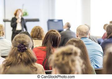 会議, 人々, 背中, 聞くこと, 光景, 講師