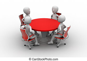 会議, 人, 3d, テーブル