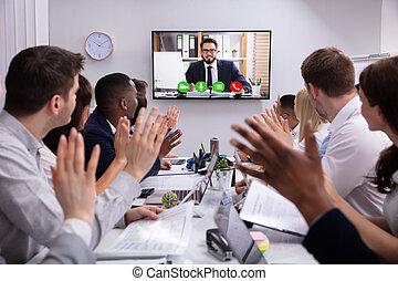 会議, 会議室, ビデオ, businesspeople, 持つこと