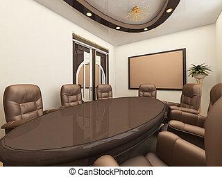 会議, 内部, オフィス机
