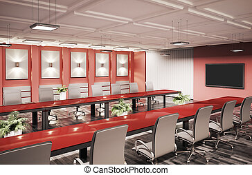 会議, 内部, 部屋, 3d