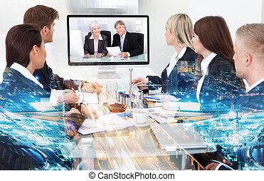会議, 出席, ビデオ, businesspeople