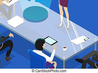 会議, 女, 部屋, ビジネス, 作成, プレゼンテーション