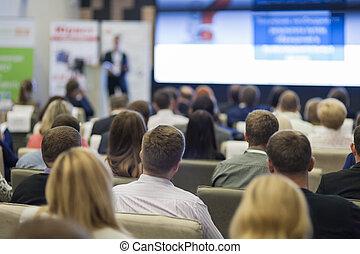 会議, 巨大, ビジネス, 人々, チャート, スクリーン, スピーカー, 聞くこと, 前部, 概念, ステージ