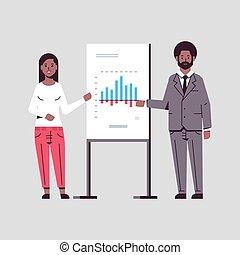 会議, 平ら, スピーカー, 概念, 財政, ビジネス, businesspeople, グラフ, 恋人, フリップ 図表, 長さ, フルである, 提出すること, 協力者, アフリカ, meting, アメリカ人, プレゼンテーション, セミナー, 作成