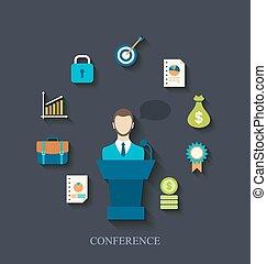 会議, 平ら, ビジネス アイコン, トリビューン, 演説者, 話すこと