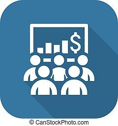 会議, 平ら, ビジネス, オンラインで, icon., learning., design.
