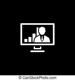 会議, 平ら, ビジネス, concept., ビデオ, icon., design.