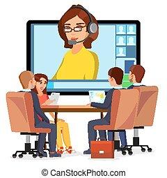 会議, 平ら, 訓練, 女, chat., ビジネス, ceo, ミーティング, concept., オフィス, 隔離された, イラスト, employees., ビデオ, ミーティング, vector., オンラインで, セミナー, 相談, 漫画