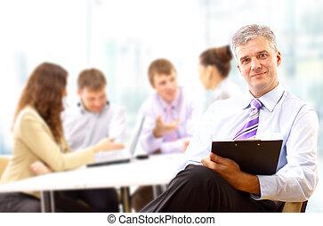 会議, 彼の, ビジネス, 残り, 出席, チーム 肖像画, 年長 人