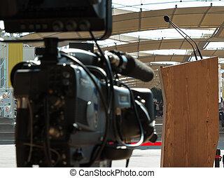 会議, 放送, カメラ, ビデオ, 準備ができた, 専門家