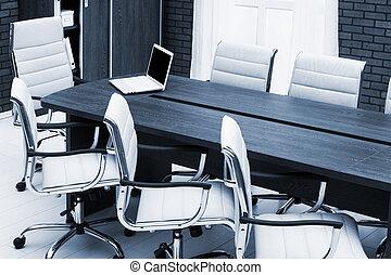 会議, 新しい, テーブル