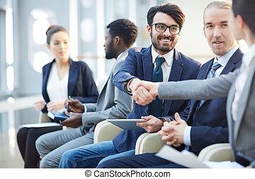 会議, 新しい, ミーティングの人々