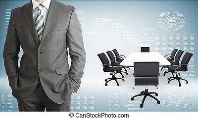会議, 椅子, ラップトップ, テーブル, ビジネスマン