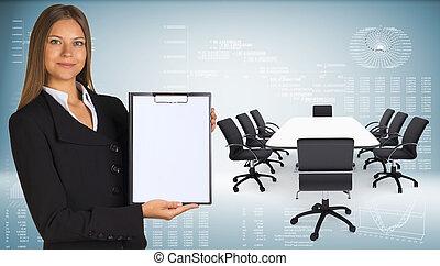 会議, 椅子, ラップトップ, テーブル, 女性実業家