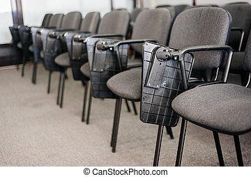 会議, 椅子, 大学, rom, 横列