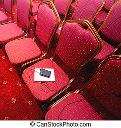 会議, 椅子, 横列, 部屋
