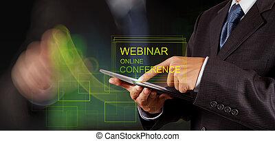 会議, 概念, ショー, webinar, 手, オンラインで, ビジネスマン