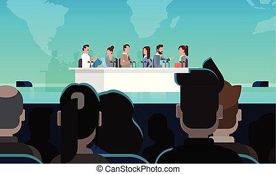 会議, 概念, ビジネス, 大きい, 役人, 公衆, インタビュー, 聴衆, 前部, ミーティング, 討論