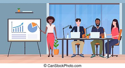 会議, 概念, 財政, オフィス, businesspeople, グラフ, チャート, 現代, とんぼ返り, プレゼンテーション, 混合, 長さ, フルである, 提出すること, レース, 女性実業家, 内部, 横, チームのミーティング, co-working
