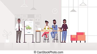 会議, 概念, 財政, ミーティング, オフィス, businesspeople, グラフ, 現代, とんぼ返り, ビジネスマン, チャート, 長さ, フルである, 提出すること, アフリカ, 内部, アメリカ人, 横, チーム, プレゼンテーション, co-working