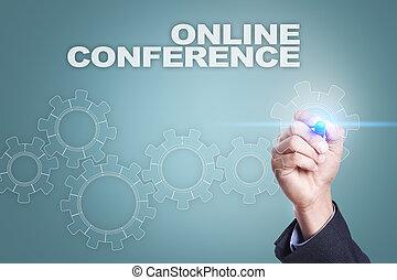 会議, 概念, screen., 事実上, オンラインで, ビジネスマン, 図画