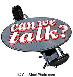 会議, 私達, 椅子, コミュニケーション, 2, 缶, テーブル, 話