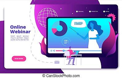 会議, 網, ビデオ, 概念, webinars, e-meeting, オンラインで, webinar, コース, ベクトル, スピーカー, インターネット, webcast, 相談, landing., セミナー