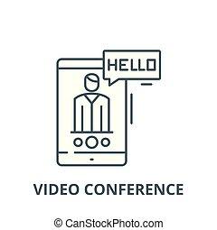 会議, 線である, 概念, シンボル, 印, ベクトル, ビデオ, アイコン, 線, アウトライン