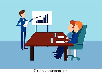 会議, 訓練, グループ, 金融, ビジネス 人々, プレゼンテーション, チャート, グラフ, とんぼ返り,...