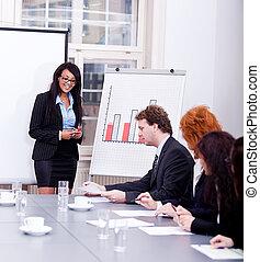 会議, 訓練, プレゼンテーション, ビジネス チーム