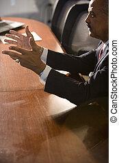会議, 話すこと, african american, ビジネスマン, テーブル