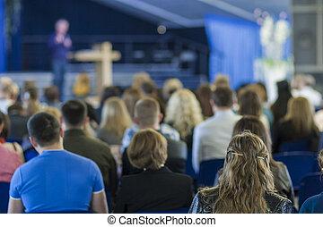 会議, 講師, 概念, グループ, ビジネス 人々, 大きい, ideas., 前部, 話すこと