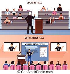 会議, 講義, セット, 旗, ホール