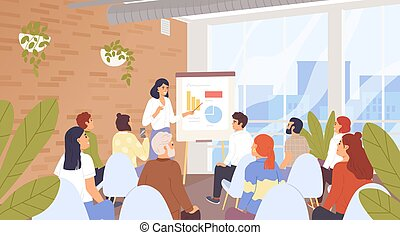 会議, 講義, 訓練, businesspeople, ベクトル, ビジネス, concept., コース, 漫画, characters., コーチ, 人員, キャリア, 会社, 開発, illustration., セミナー, 傾聴者