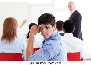 会議, 退屈させられた, ビジネスマン