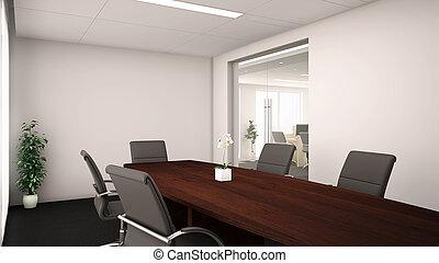 会議, -, 部屋, オフィス, 3d
