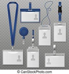 会議, badge., 首, visitors., ベクトル, プラスチック, lanyards, 現実的, セット, 同一証明, 出版物, ホールダー, カード, id, セキュリティー