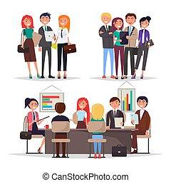 会議, businessmans, 旗, 若い, カラフルである