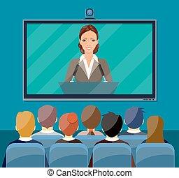 会議, concept., ビデオ