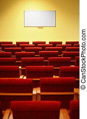 会議, hall., 横列, スクリーン, フォーカス, chairs., 空