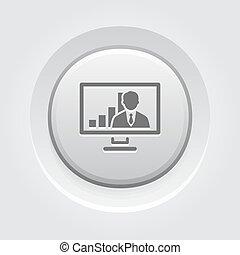 会議, icon., 概念, ビデオ, ビジネス