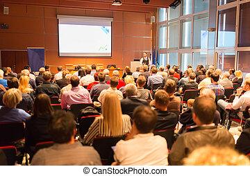 会議, presentation., スピーカー, ビジネス