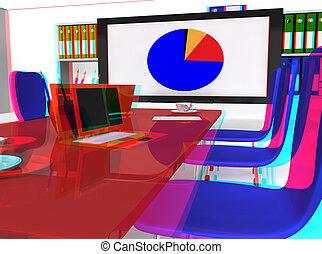 会議, stereoscopic, 部屋