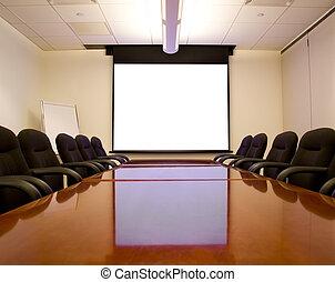会议室, 带, 屏幕