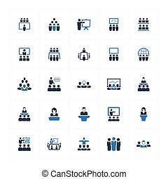 会议, 蓝色, business icon, version(set, -, 2)