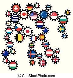 伝動装置, 世界, 別, 旗, 抽象的
