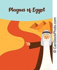 伝染病, 10, ユダヤ人, -, 物語, イラスト, egypt., 過ぎ越しの祝い, 休日, 最初に