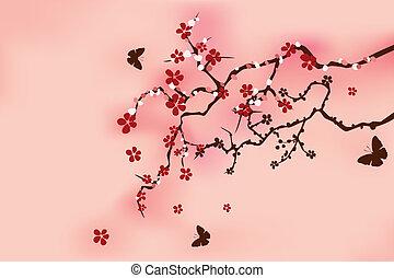 伝統的である, さくらんぼ, 日本語, 花