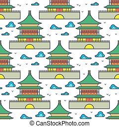 伝統的である, アジア人, 中国語, 家, seamless, パターン